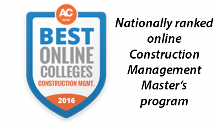 Nationally ranked online Construction Management Masters program