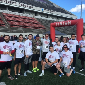 EKU Construction Management 2016 Homecoming 5K Team with President Benson